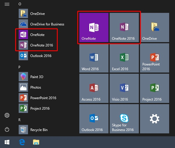 OneNote as Recommended App for Windows 10